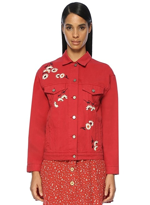 Beymen Club Çiçek Desenli Jean Ceket Kırmızı